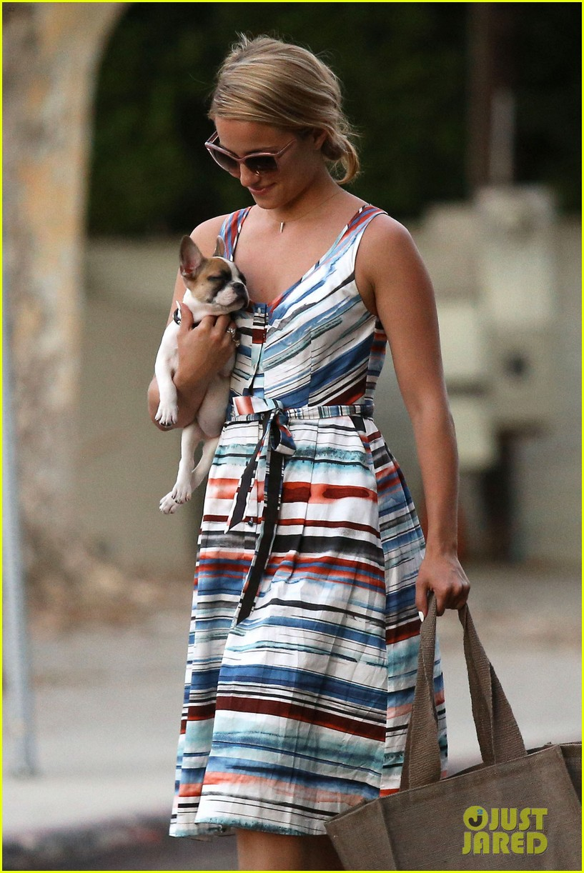dianna agron kisses her new puppy on wednesday outing 24