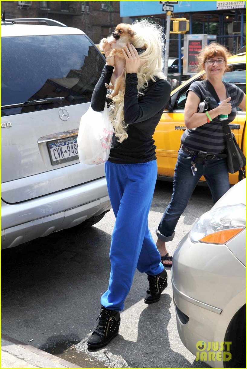 amanda bynes hides face behind dog after court day 052907297