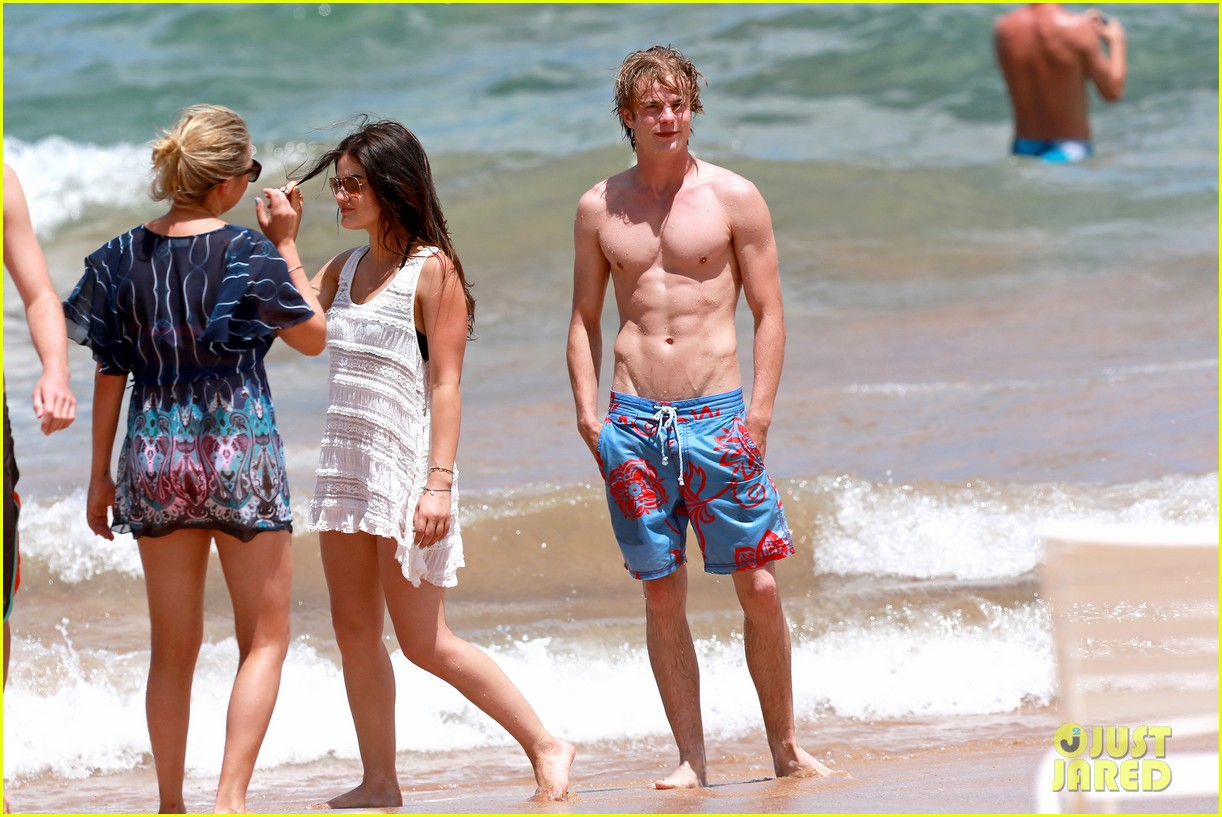 lucy hale more beach fun with shirtless graham rogers 01