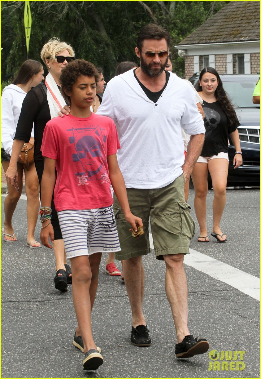 hugh jackman hangs with family wolverine hits theaters 11