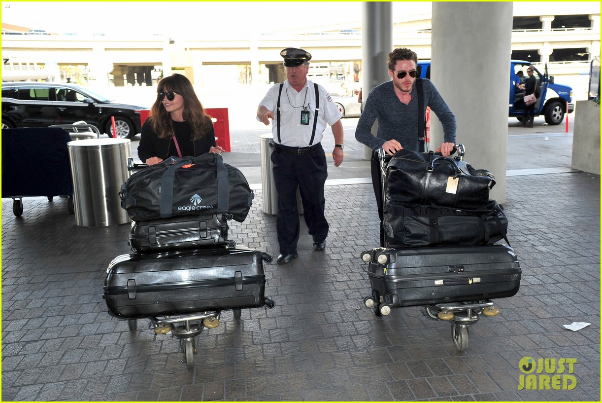 richard madden jenna coleman lots of luggage at lax 15