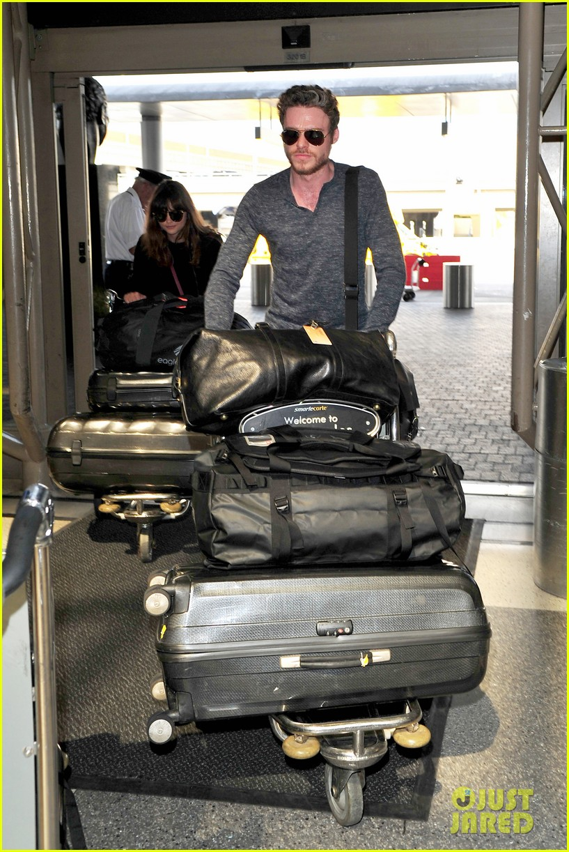 richard madden jenna coleman lots of luggage at lax 212917838