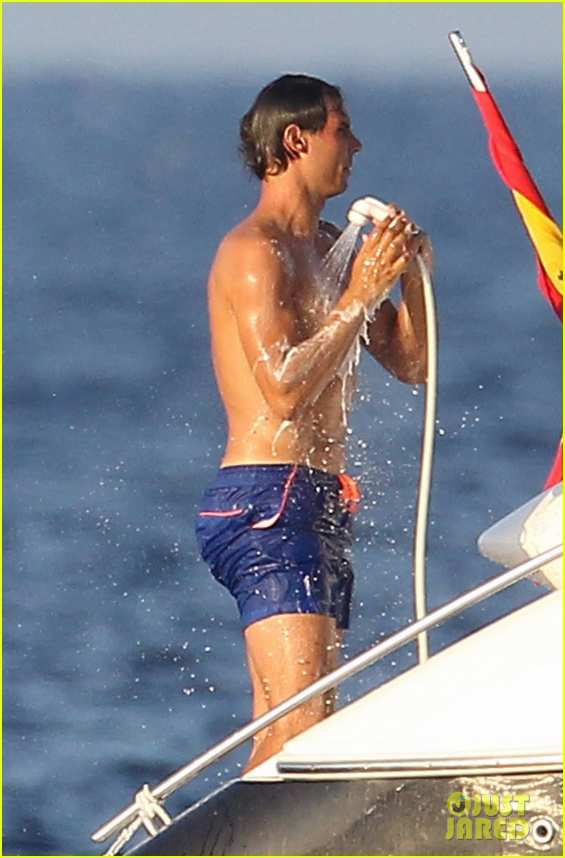 rafael nadal shirtless yacht ride with pals 13