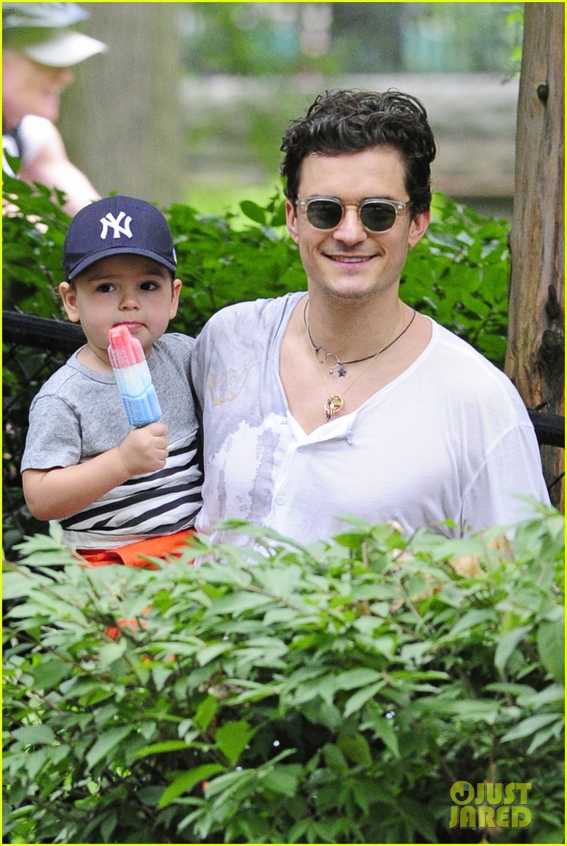 orlando bloom takes flynn to central park miranda kerr hits jfk 03