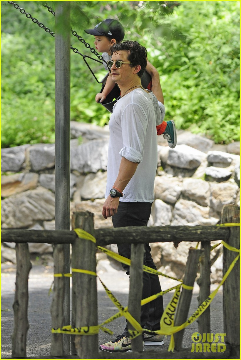 orlando bloom takes flynn to central park miranda kerr hits jfk 10