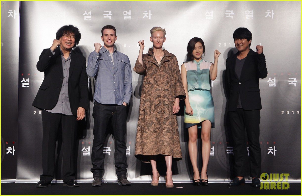tilda swinton chris evans snowpiercer seoul press conference 06