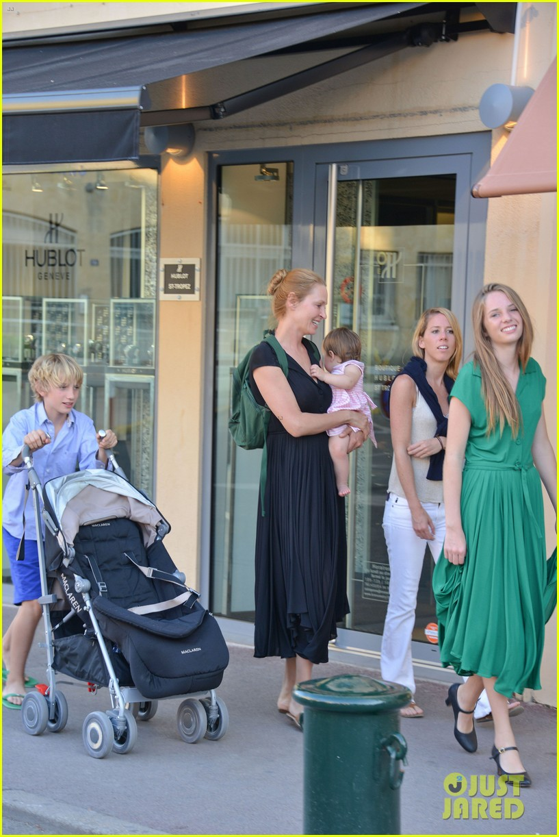 uma thurman saint tropez trip with arpad busson kids 03