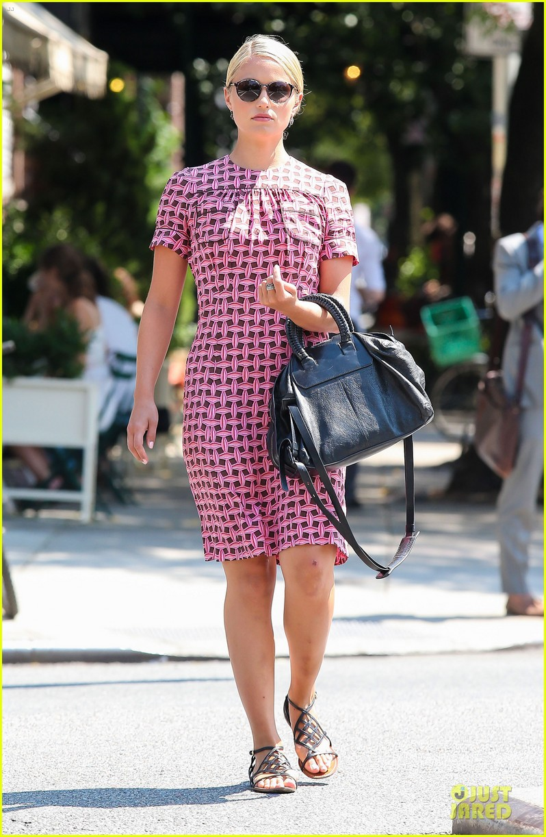 dianna agron repeats cute dress for nyc solo stroll 06