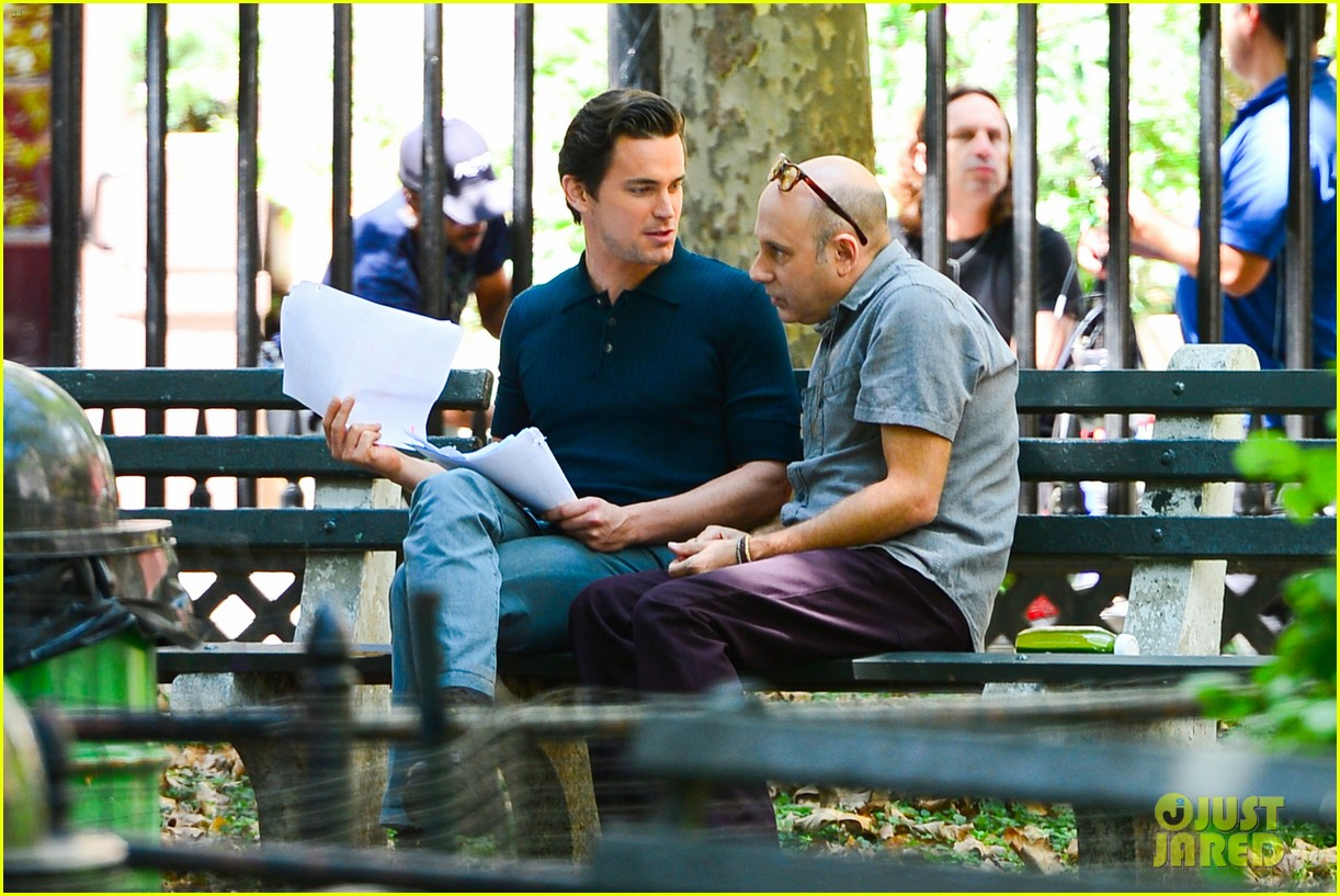 matt bomer wears jumpsuit plays with puppy 03