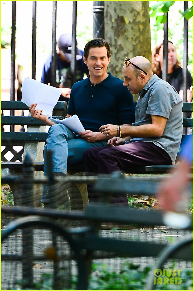 matt bomer wears jumpsuit plays with puppy 072930916