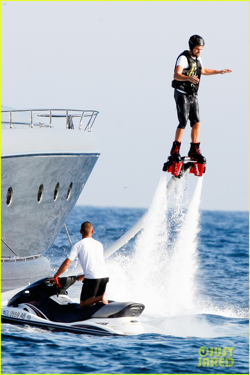 leonardo dicaprio goes shirtless after flyboarding in ibiza 03