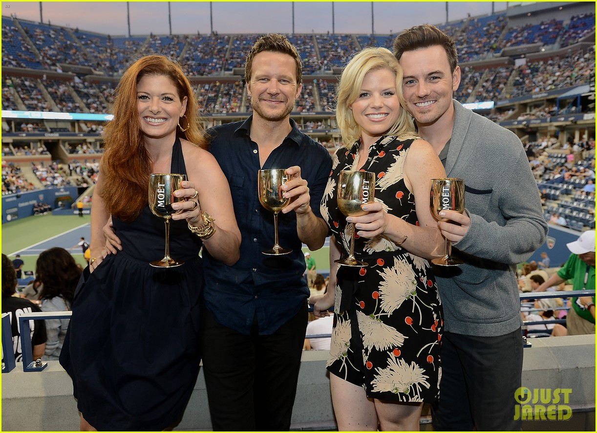 megan hilty debra messing smash reunion at us open 08