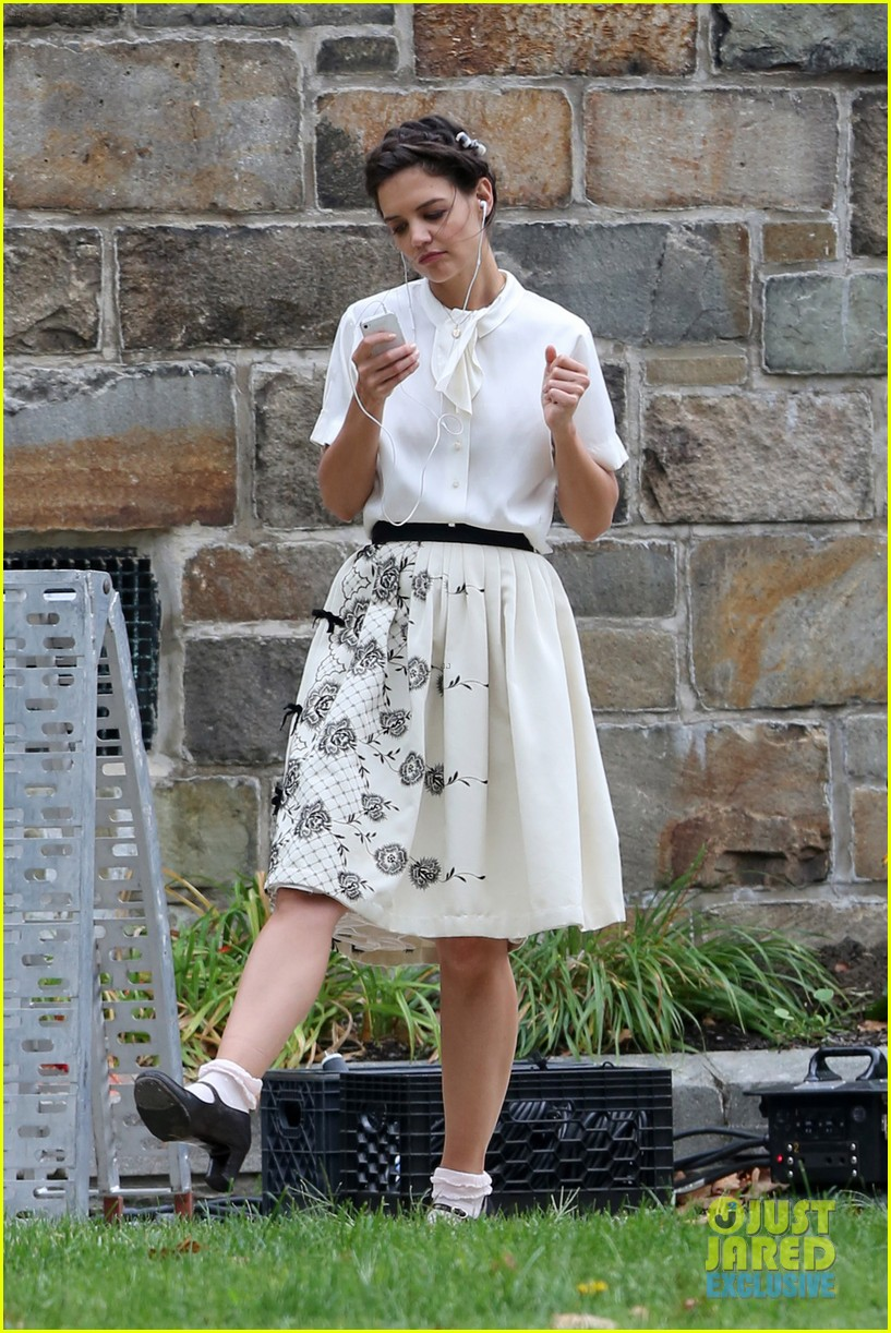 katie holmes dances along to songs on miss meadows set 18