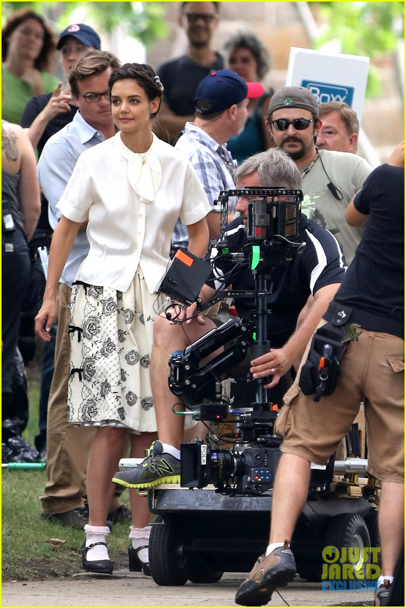 katie holmes dances along to songs on miss meadows set 30