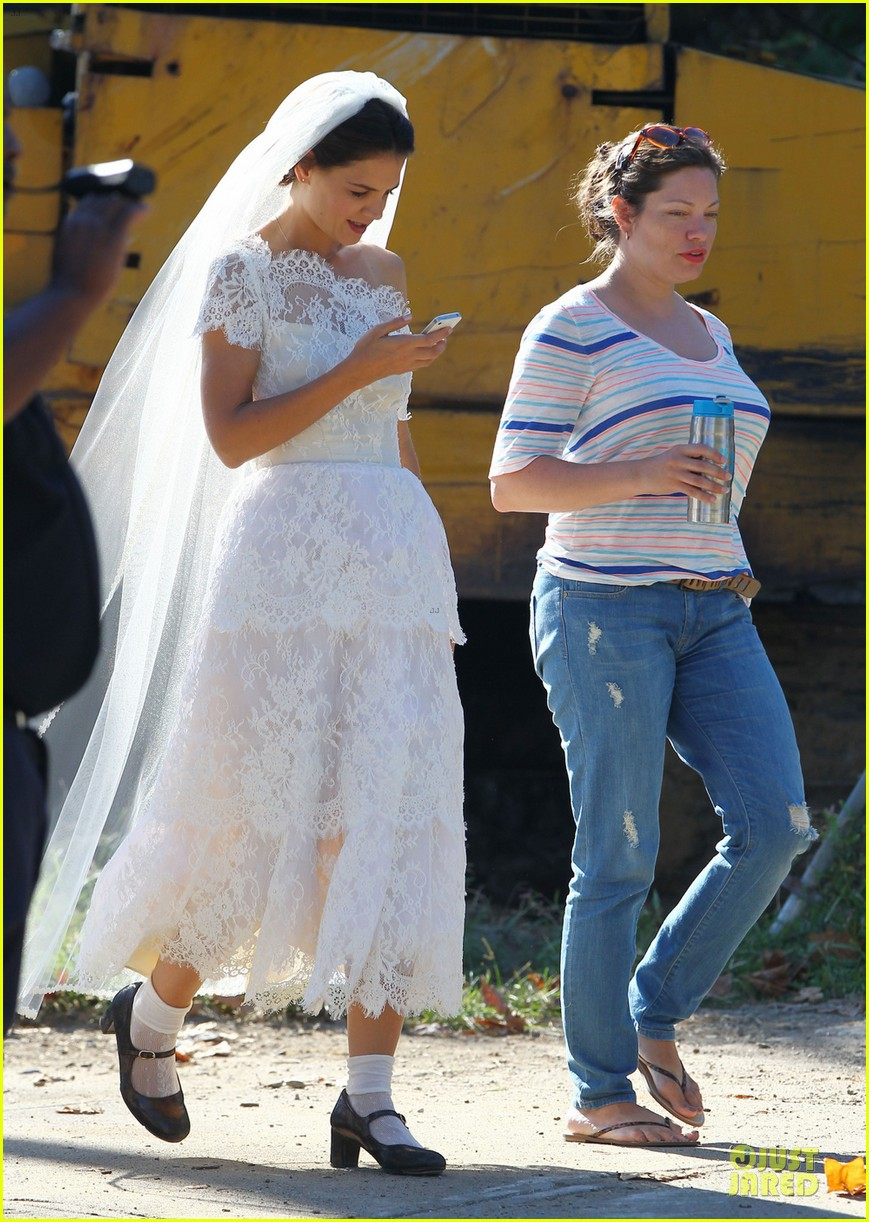 katie holmes white wedding dress on miss meadows set 01