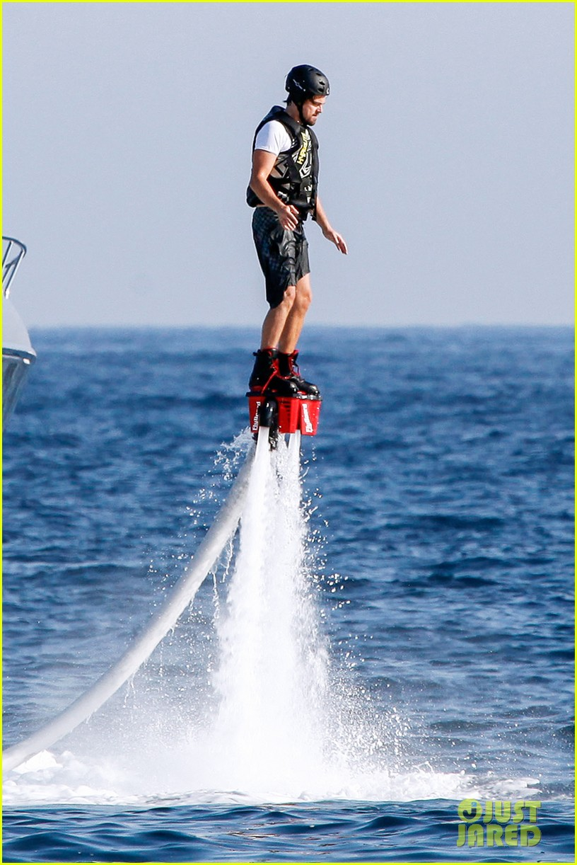 leonardo dicaprio flyboards in the air during ibiza vacation 01