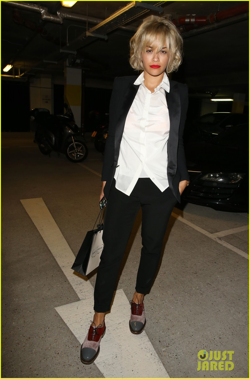rita ora shows off new short hairdo at percy reed salon 08