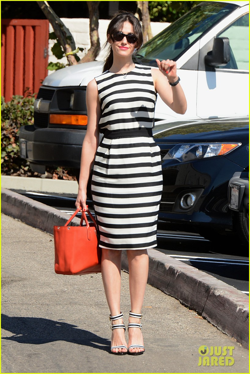 emmy rossum shows her stripes in brentwood 072926634