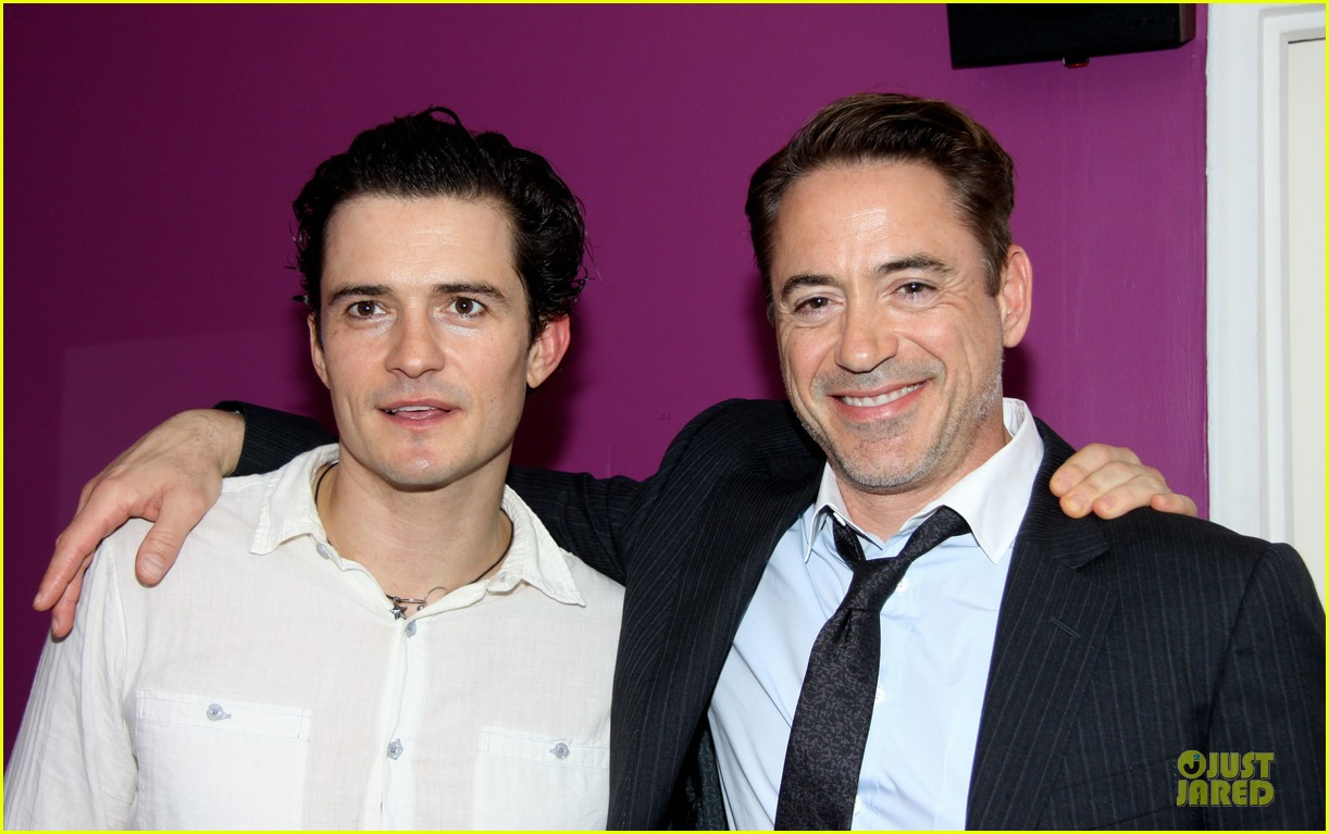 Full Sized Photo of orlando bloom robert downey jr backstage at romeo ...