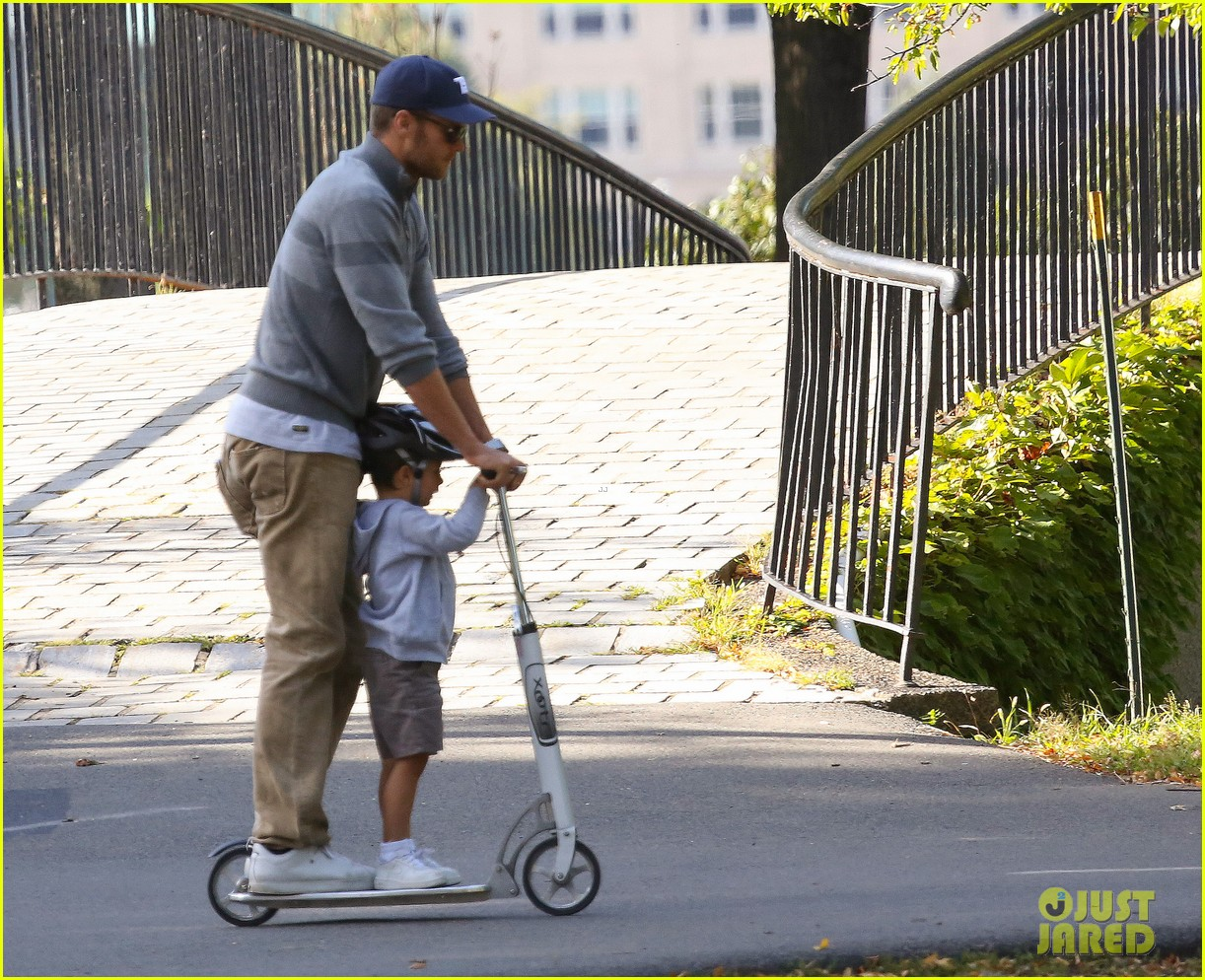 gisele bundchen rides bike tom brady scoots with benjamin 03