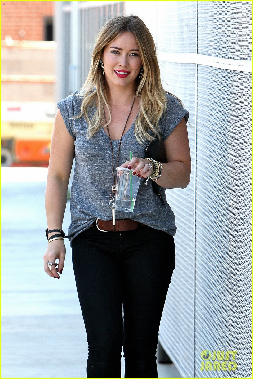 hilary duff hits starbucks after vet visit 232946803