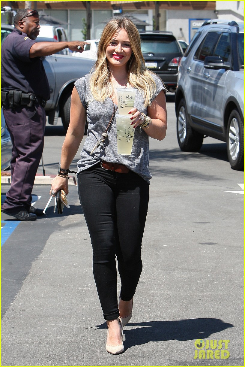 hilary duff hits starbucks after vet visit 252946805