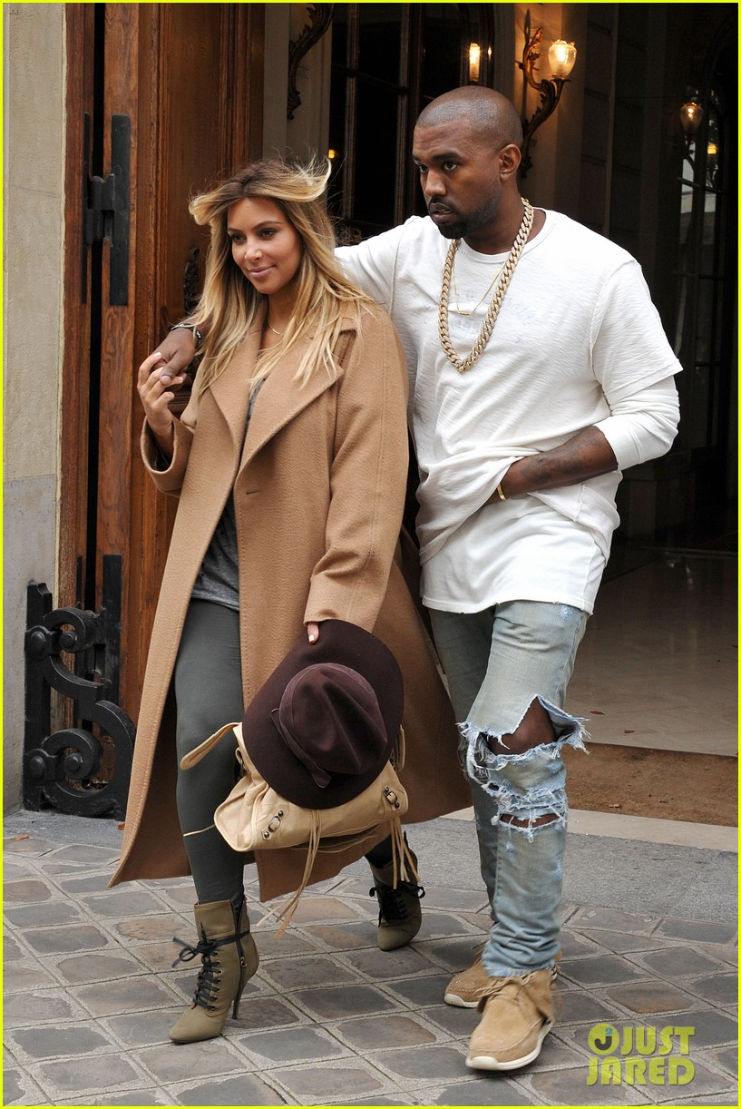 kim kardashian kanye west step out together in paris 012961523