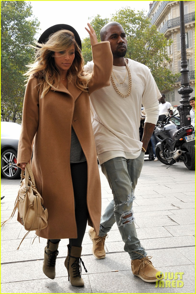 kim kardashian kanye west step out together in paris 202961542