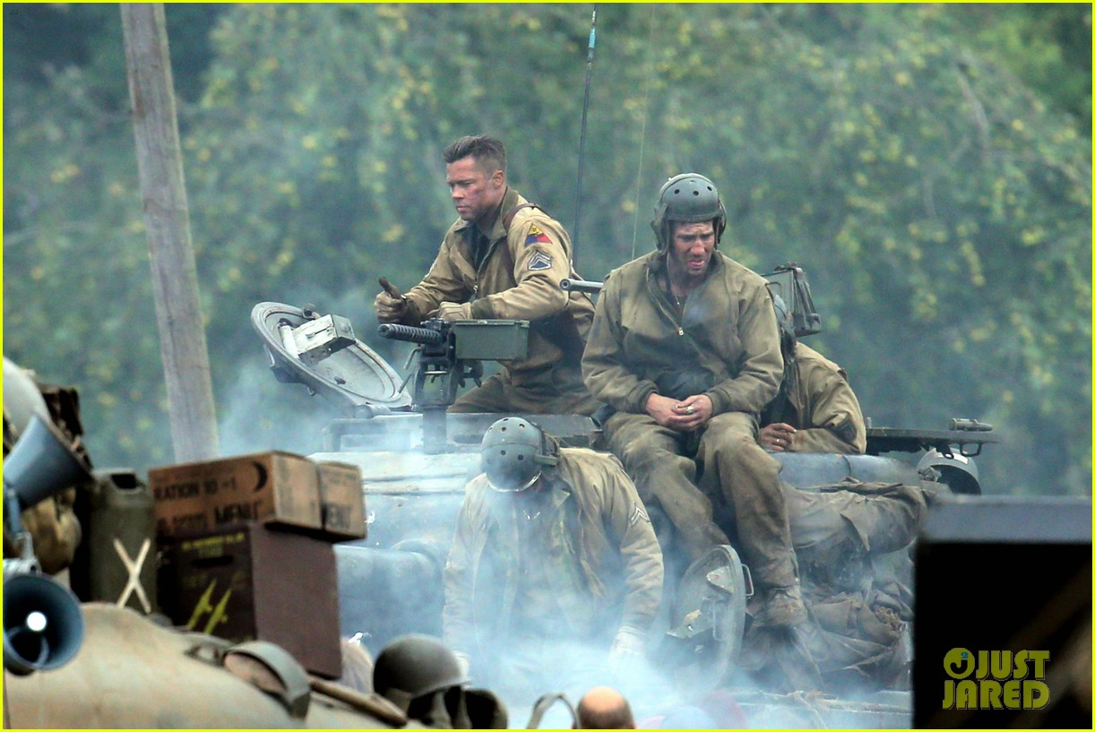 brad pitt rocks slicked back hair army outfit on fury set 042963194
