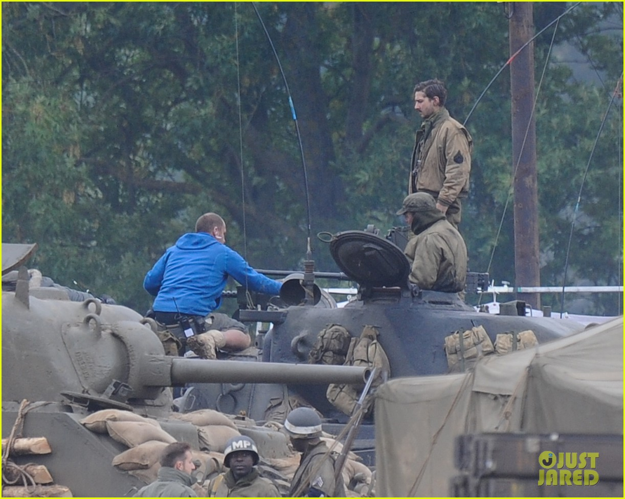 brad pitt rocks slicked back hair army outfit on fury set 122963202