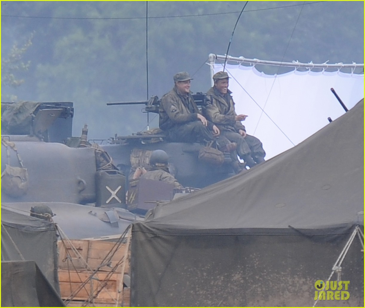 brad pitt rocks slicked back hair army outfit on fury set 15