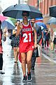 rihanna wears basketball jersey dress in rainy nyc 07