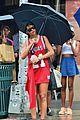 rihanna wears basketball jersey dress in rainy nyc 19