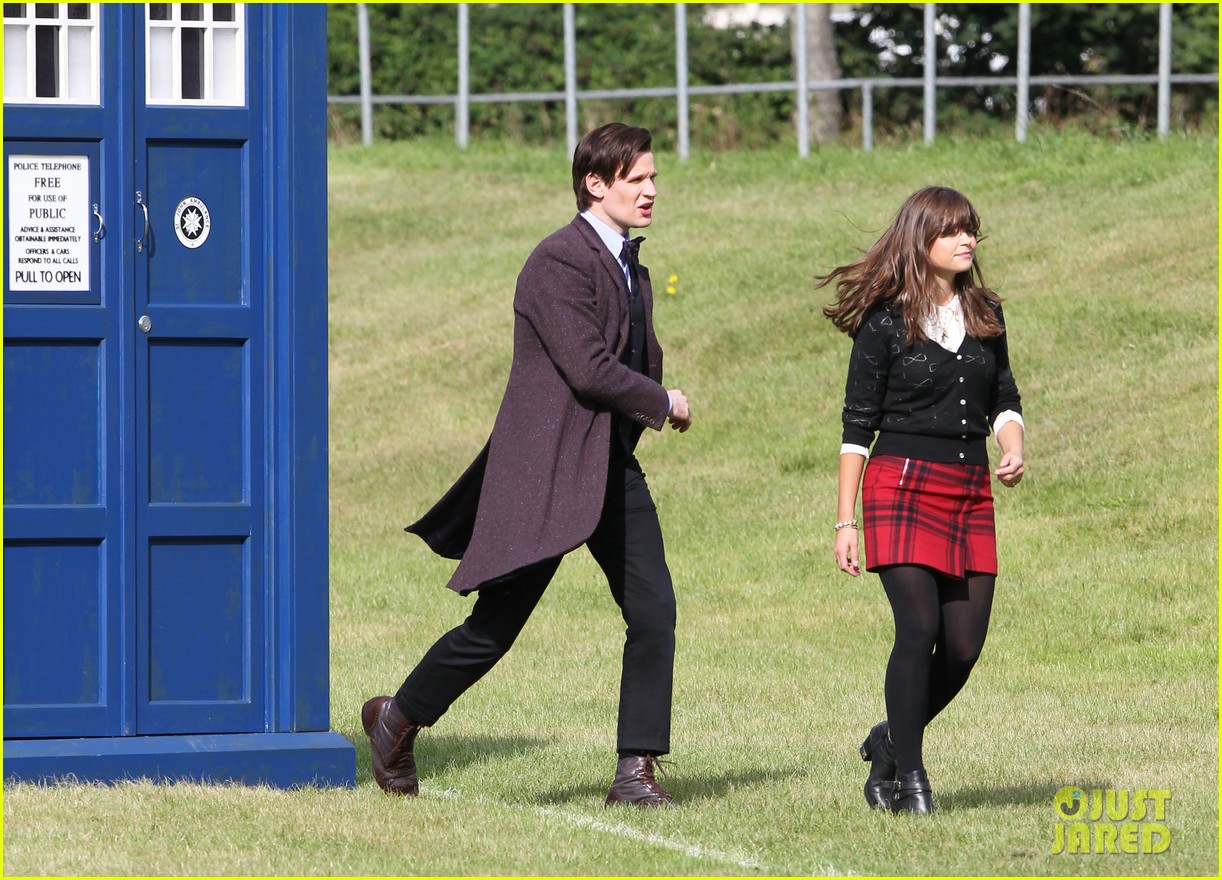 matt smith films doctor who christmas special with jenna coleman 01