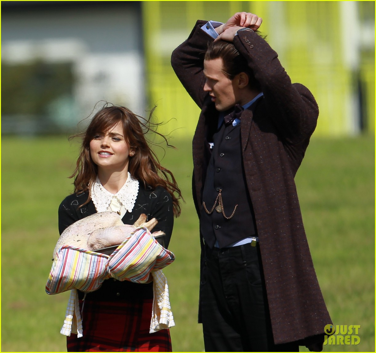 matt smith films doctor who christmas special with jenna coleman 18