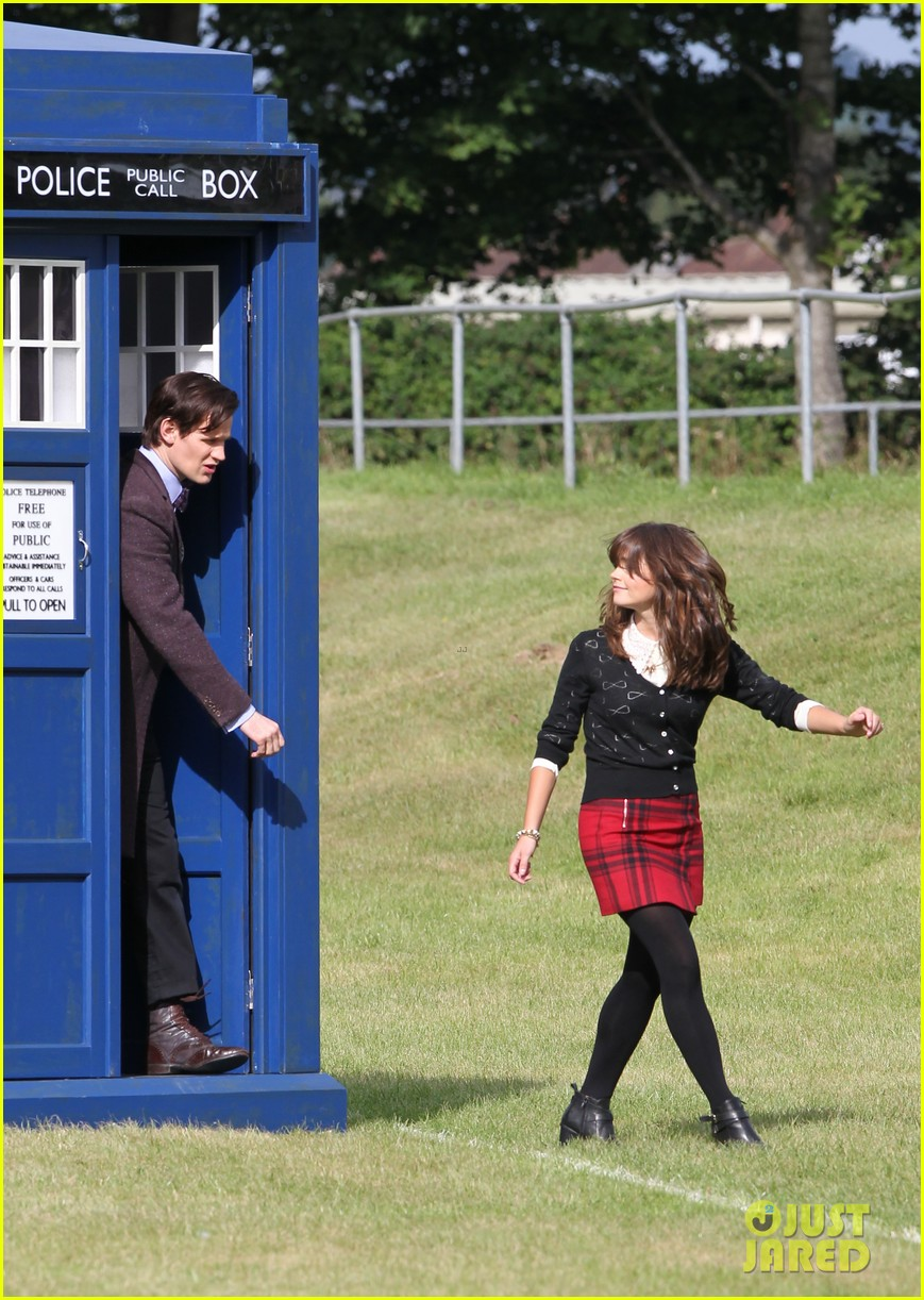 matt smith films doctor who christmas special with jenna coleman 252949189