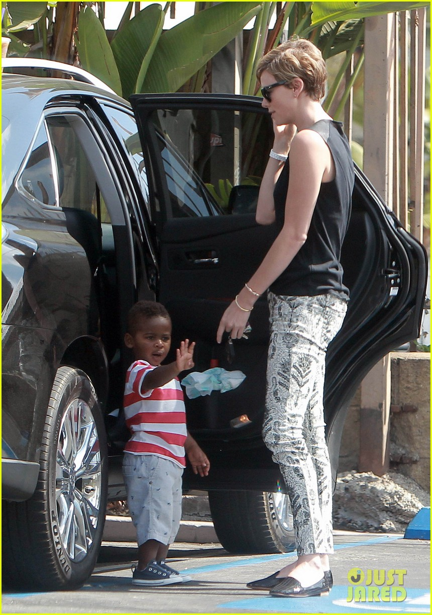 charlize theron grabs coffee with her little man jackson 17