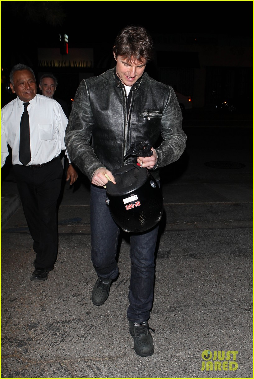 tom cruise rides motorcycle for lucas on sunset dinner outing 242973553