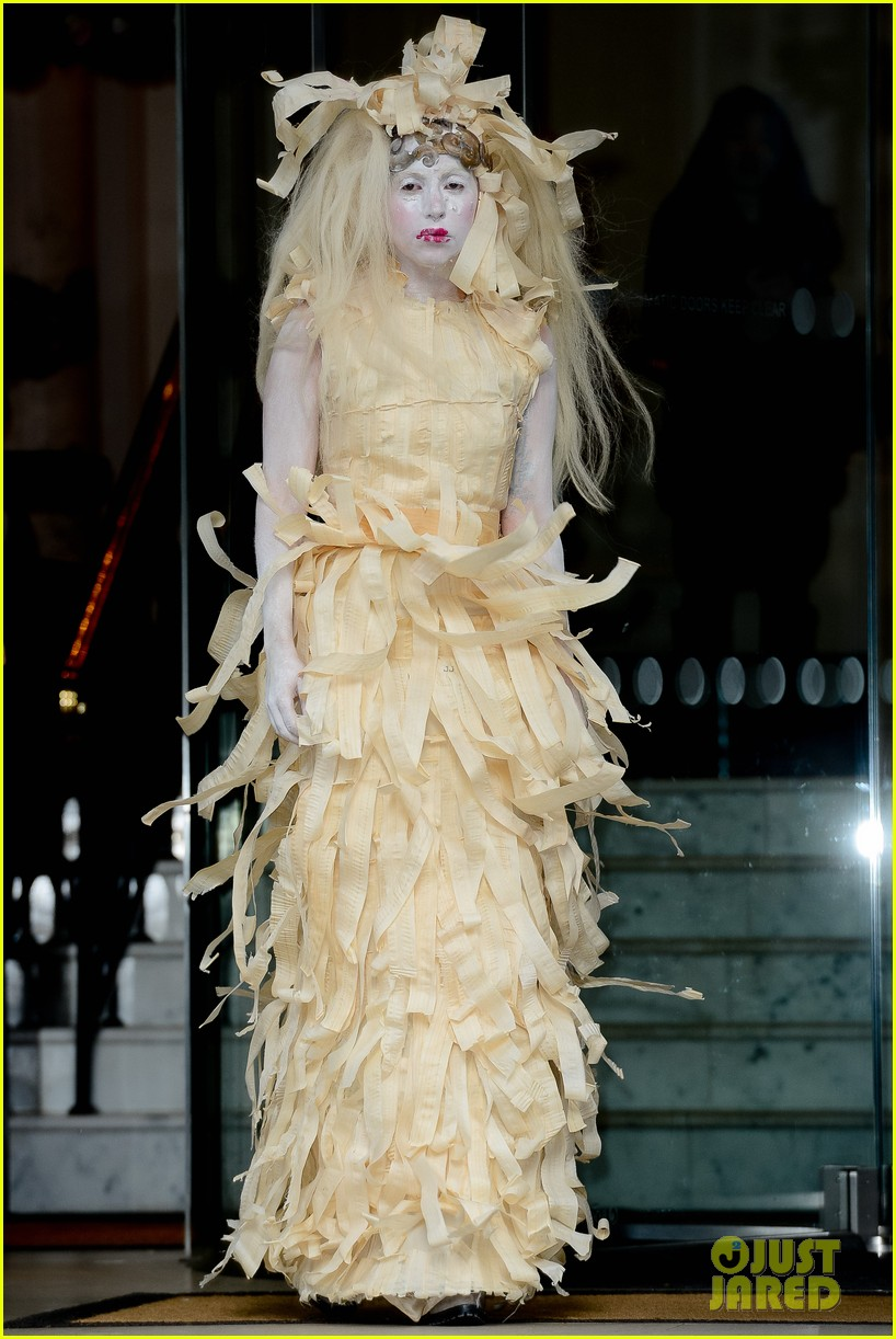 lady gaga steps out in full face powder interesting dress 01