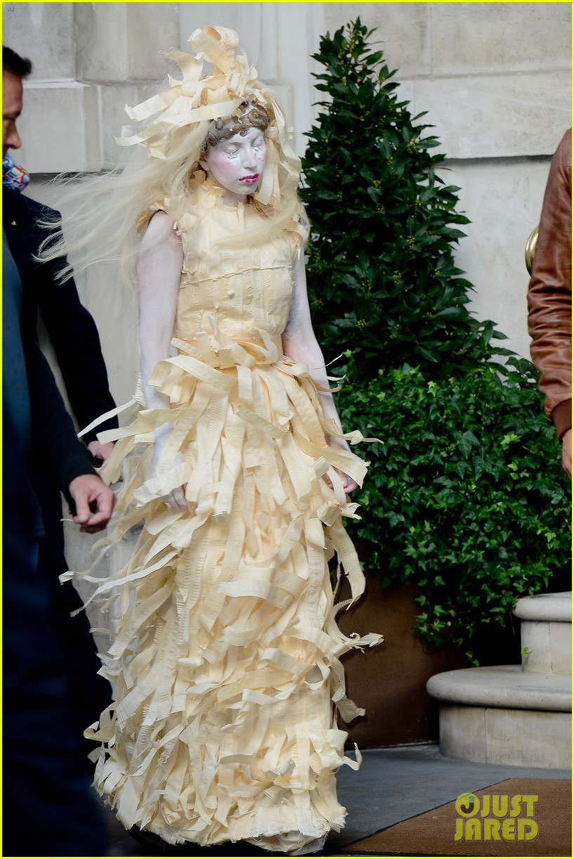lady gaga steps out in full face powder interesting dress 03