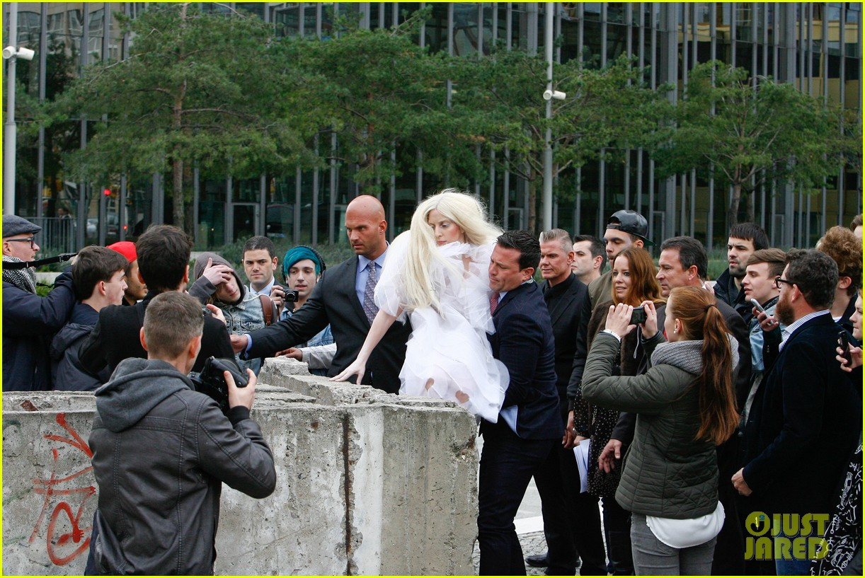 lady gaga naked under sheer cover up at berlin wall 082979058