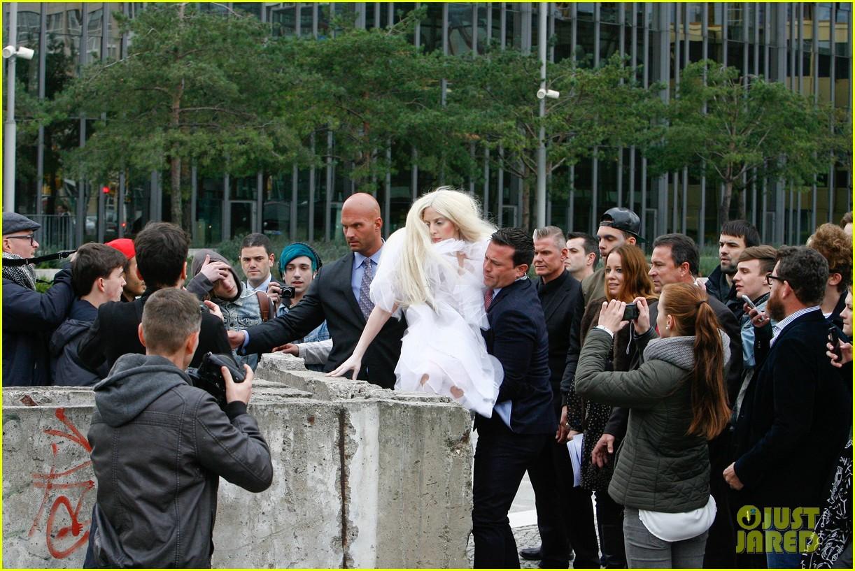 lady gaga naked under sheer cover up at berlin wall 08