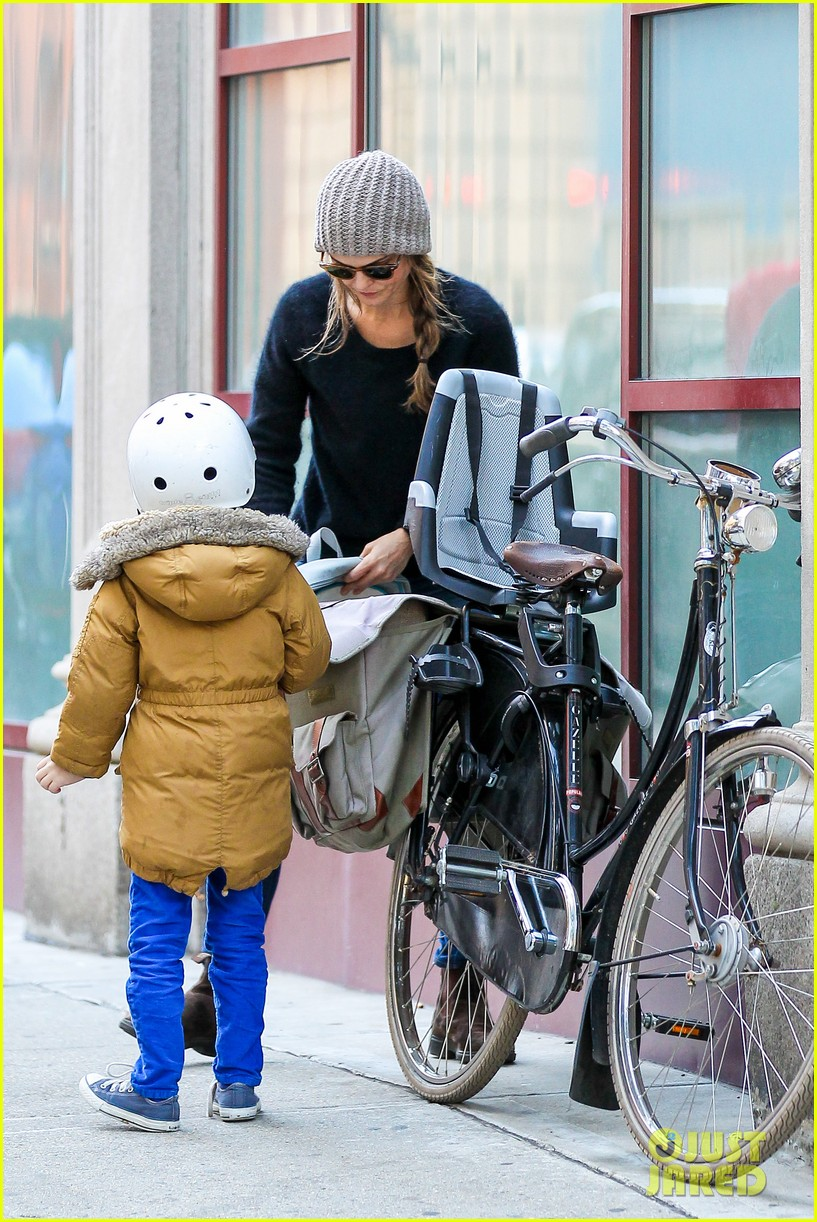 keri russel laughs with river after bike ride 12
