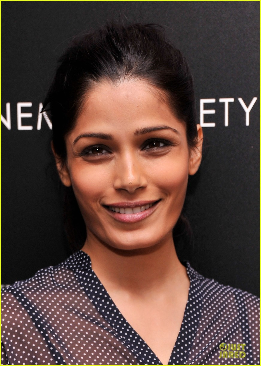 freida pinto flashes black bra at the fifth estate screening 122970357