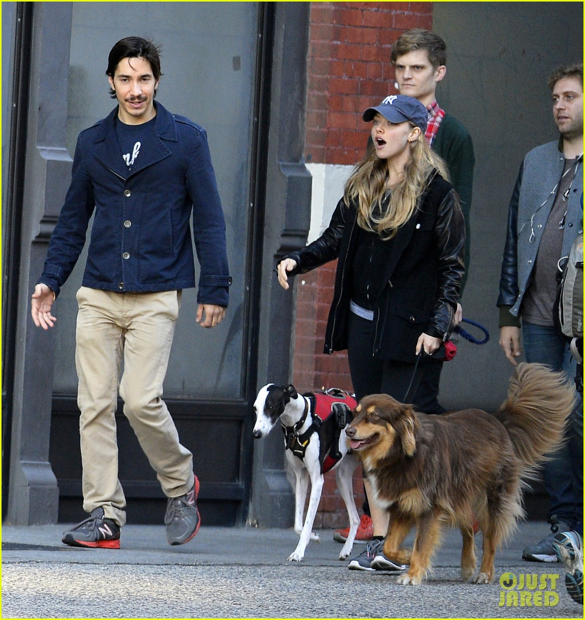 amanda seyfried justin long hold hands for dog walk 03