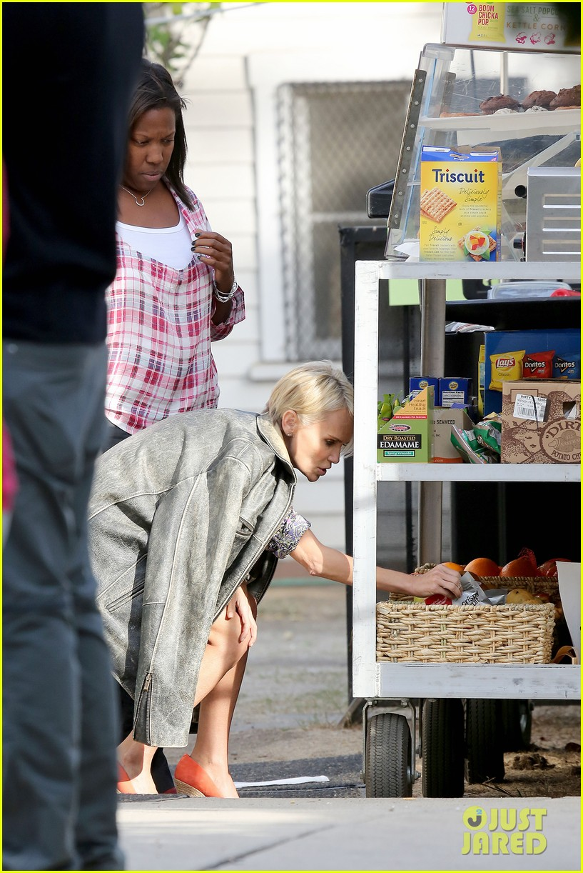 kristin chenoweth snacks during fun day at work 03