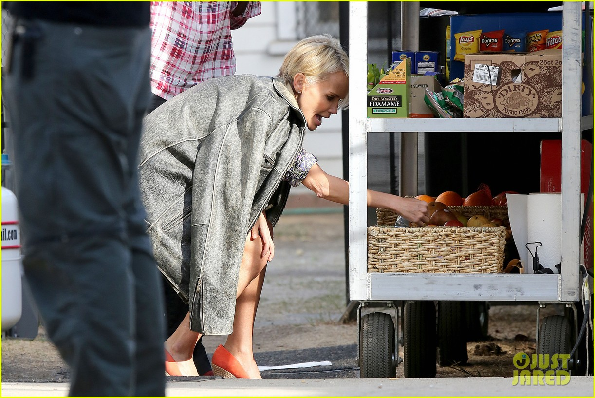 kristin chenoweth snacks during fun day at work 08