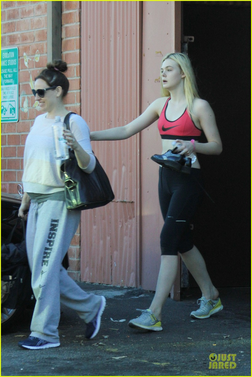 elle fanning rocks red sports bra on halloween 172984488