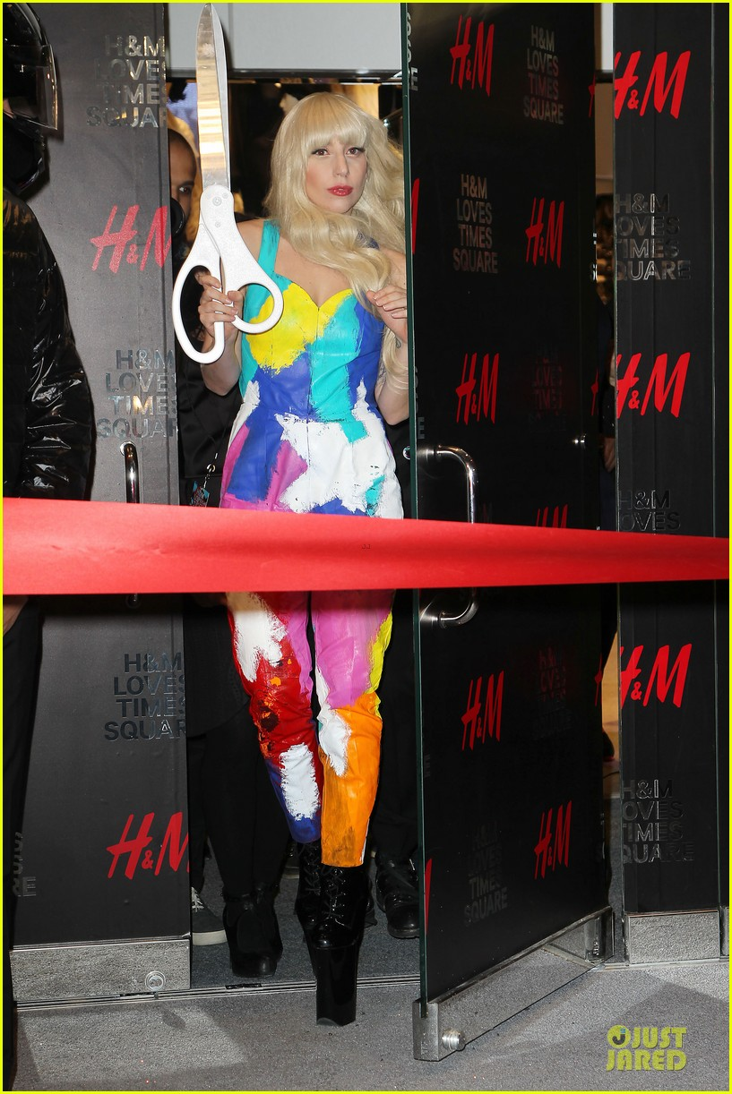lady gaga cuts red ribbon at hm store opening 032992397