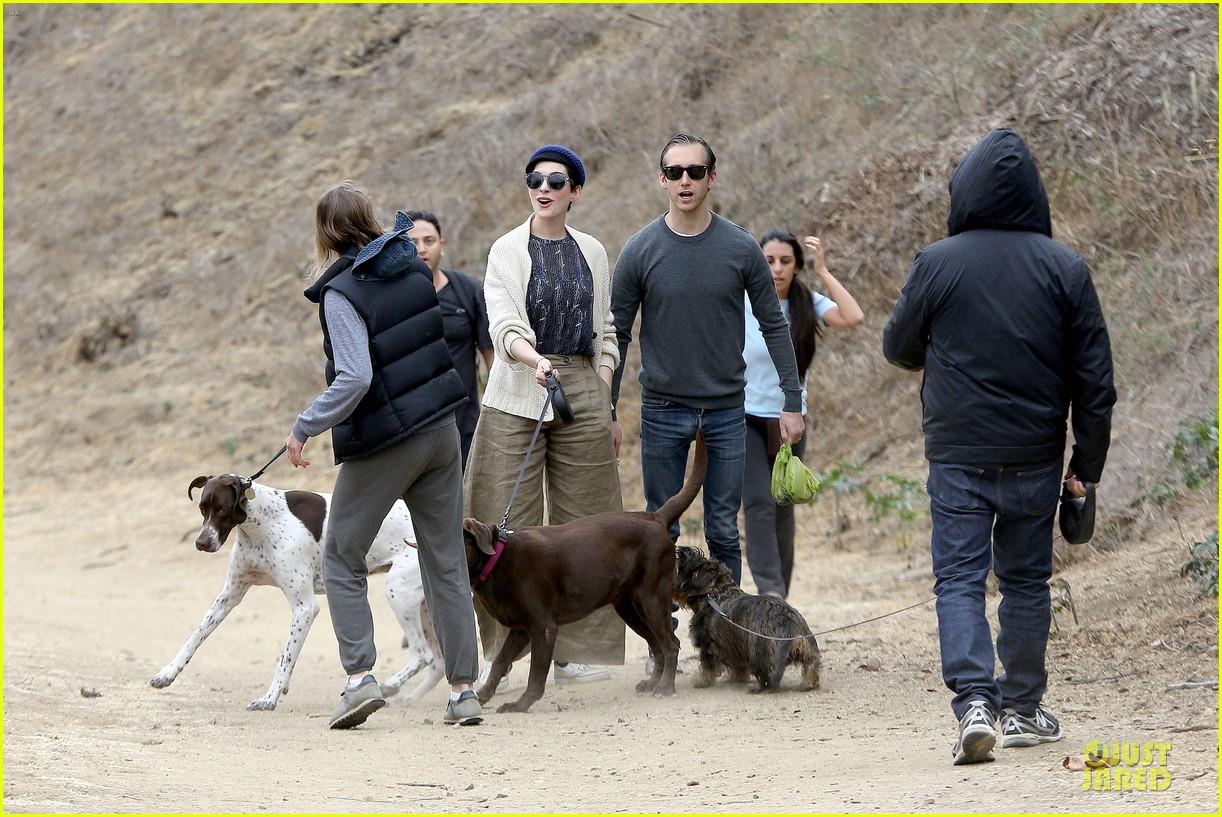 anne hathaway adam shulman hold hands for intimate walk 252994293